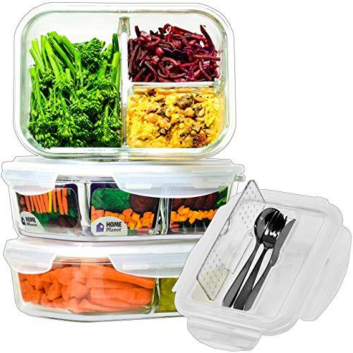 Home Planet Lunchbox Glas 3 Fach | 1050ml 3er Set | 97% weniger Kunststoffverpackungen | Meal Prep Boxen Glas...