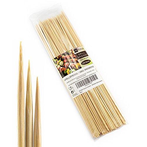HEYNNA® Schaschlikspieße Holz 30cm / Ø3mm Grillspieße - Holzspieße aus Bambus für das Grillen und Kochen...