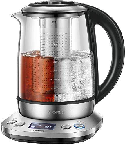 Wasserkocher DECEN Wasserkocher Glas | Temperatureinstellung 40-100 Grad | 1,7 Liter | 2200 Watt |...