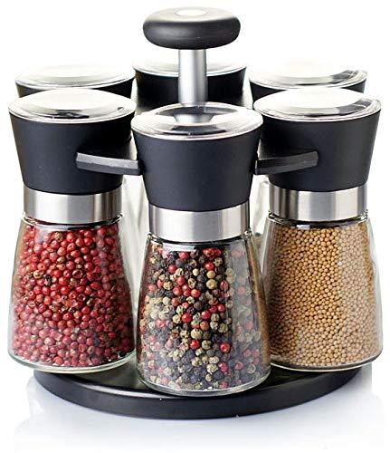 Pfeffermühle Salzmühle 6er Set mit drehbarem Ständer - Echtglas - Keramikmahlwerk - Gastro Set - ohne...