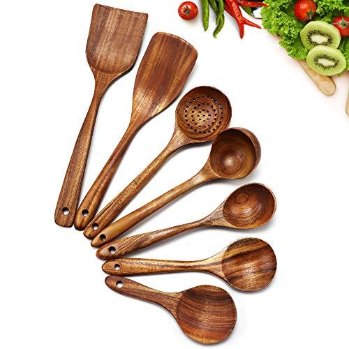 Cosyres Küchenhelfer Set Aus Holz 7 Teilig Küchenutensilien Hitzebeständig Japanisch
