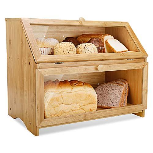 Leader Accessories Brotkasten Bambus Brotbehälter lebensmittelecht Brotaufbewahrung pflegeleicht 39x25x32cm