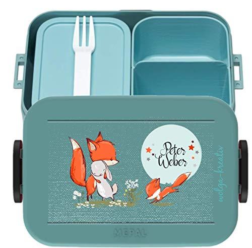 wolga-kreativ Brotdose Lunchbox Bento Box Kinder mit Namen Mepal Hase und Fuchs Obsteinsatz für Mädchen...