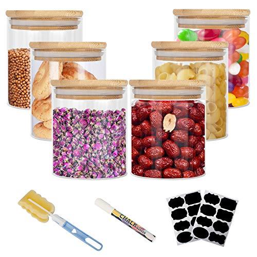 Vorratsdosen Glas, Aufbewahrungsbox Küche Glas 6er Set, Glasbehälter mit Deckel, Vorratsdosen Luftdicht Aus...