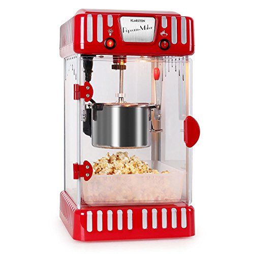 Klarstein Volcano Popcornmaschine - Popcorn-Maker, Popcorn-Bereiter, Retro-Design, 300 Watt, Edelstahl-Topf,...