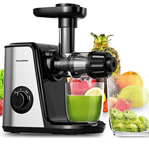 Bonsenkitchen Entsafter Slow Juicer, Gemüse und Obst Profi Entsafter mit Ruhiger Motor und Umkehrfunktion, 2...