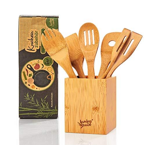bambuswald© ökologisches 6er Set Küchenzubehör inkl. Aufbewahrungsbox | Kochbesteck aus 100% nachhaltigem...