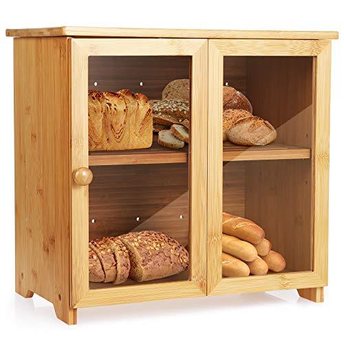 Tobeelec Bambus Brotkasten, Holz Brotkorb, mit transparente Acrylfenster & 2-Fächer, Herausnehmbare...