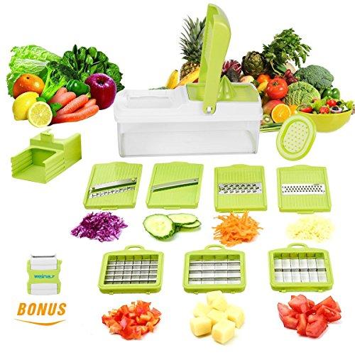 YRYP 10 in 1 Verstellbarer Mandoline Gemüseschneider Kartoffelschneider, Zerteilen Gemüse Obst Schnell und...
