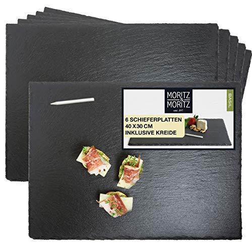 Moritz & Moritz 6 x Schieferplatten Servierplatte 30 x 40 cm mit Kreidestift - Schieferplatte als Buffet...