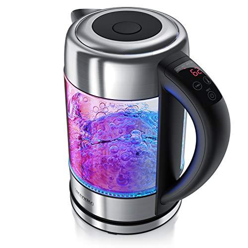 Arendo - Wasserkocher Edelstahl Glas mit Temperatureinstellung – 1,7l - einstellbare Temperaturen 40° 70°...