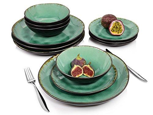 Sänger Tafelservice Palm Beach – 12 teiliges Geschirr-Service für 4 Personen, farbiges Teller-Set aus...