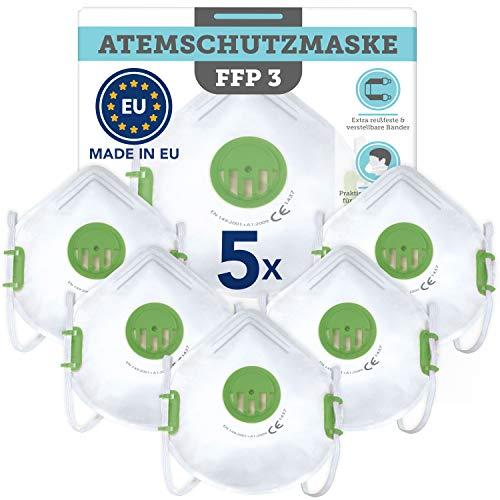 Maske FFP 3 aus europäischer Produktion 5 Stück- CE zertifizierter Atemschutz gegen flüssige und feste...