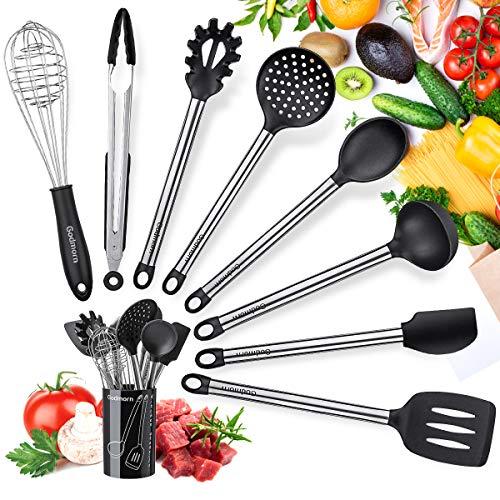 Küchenhelfer Set, Godmorn 9 Stück Kochbesteck Set mit Edelstahlgriff, Silikon Küchenutensilien mit...