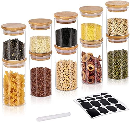 GoMaihe 200ML + 300ML Vorratsdosen 10er Set, Vorratsdosen Glas Gewürzgläser Luftdicht Glasbehälter aus...