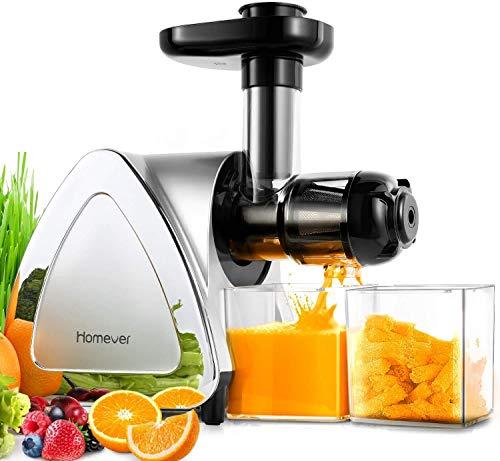 Slow Juicer, Homever BPA-frei Entsafter Gemüse und Obst, Profi Juicer Ausgestattet mit Einem Geräuscharmen...