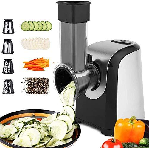 Nictemaw Elektrische Gemüse Raspel Schneidemaschine 150W Elektrischer Gemüsehobel Multifunktionsreibe 4 in 1