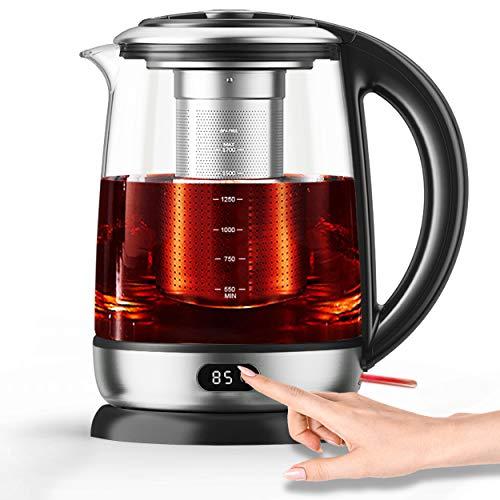 AICOOK Wasserkocher, 1,7 l Glas-Teekessel-Temperaturregelung mit LED-Anzeige und Digitalanzeige, automatische...