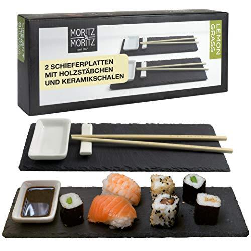 Moritz & Moritz Sushi Platte Schiefer mit Dipschalen - 10 teilig für 2 Personen - Sushi Geschirr...