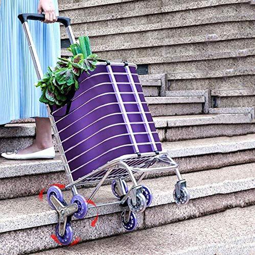 WYZXR Klappbarer Einkaufswagen Trolley Bag Tragbarer Lebensmittelhändler Leichter Treppenkletterwagen mit 8...