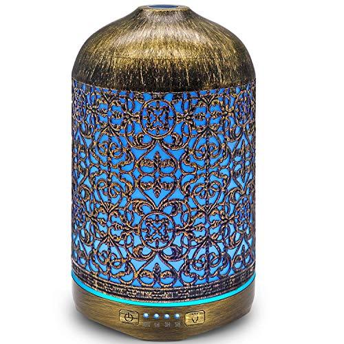 infinitoo Aroma Diffuser, 260ml Luftbefeuchter Metall Aromatherapie Diffusor für Ätherische Öle, mit 7...