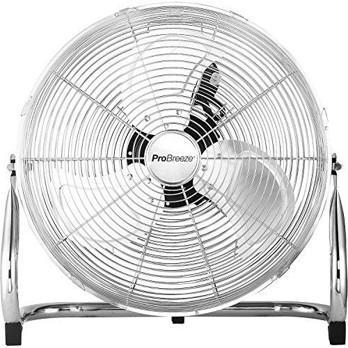 Pro Breeze 50 cm Bodenventilator aus Chrom, Ventilator mit 3 Geschwindigkeitsstufen und verstellbaren...